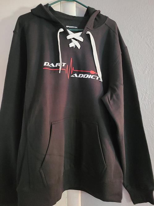 """""""Hockey lace"""" Hoodie--Black"""