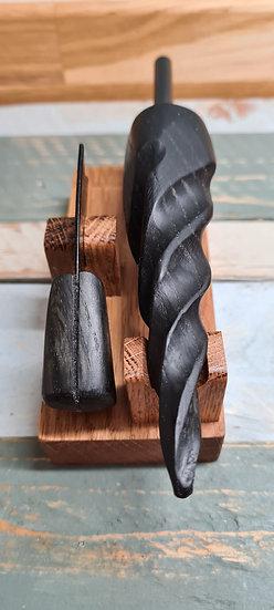 4000 Year Old Bog Oak Unicorn Handle With Matching Striker On Custom Stand
