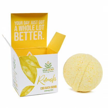 Refresh CBD Bath Bomb - Lemon Grapefruit (U.S. Hemp Co.)