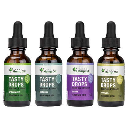 Front View of 4 Tasty Hemp Oil Tasty Drops 1000mg for each flavor