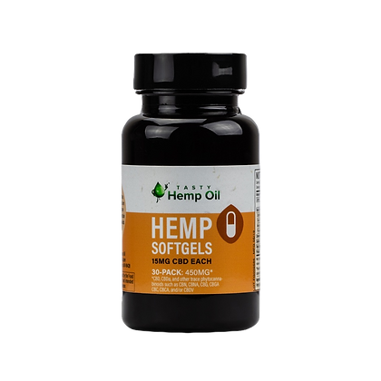 Tasty Hemp Oil Hemp Softgels Front View