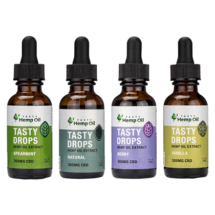 Front View of 4 Tasty Hemp Oil Tasty Drops 300mg for each flavor