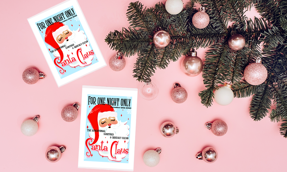 Sanitised Santa, Christmas 2020  Retro Art Print, poster illustration A5 - A3