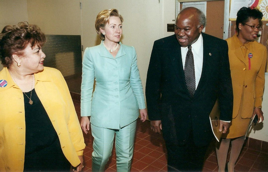 Owens, his wife Maria, and Chief of Staff Jacqueline Ellis escort U.S. Senate candidate Hillary Clinton