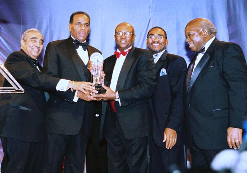 Congressional Black Caucus members honor H. Carl McCall.