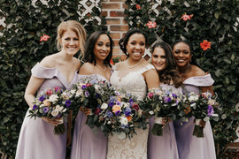 Bridal Party Portraits with Lavender Dresses