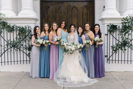 Bridal Party Portraits with Mix and Match dresses outside of Felicity Church