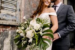 Couple's Wedding Portrait with Tropical Bouquet