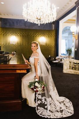 Bridal Portrait at Le Pavillion with Bouquet