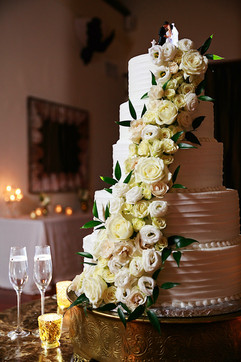 Stunning Floral Cascade on Wedding Cake