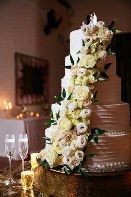 Stunning Floral Cascade on Wedding Cake
