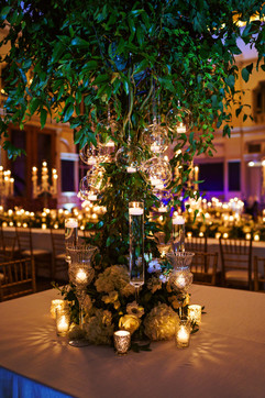 Indoor tree installation with candles
