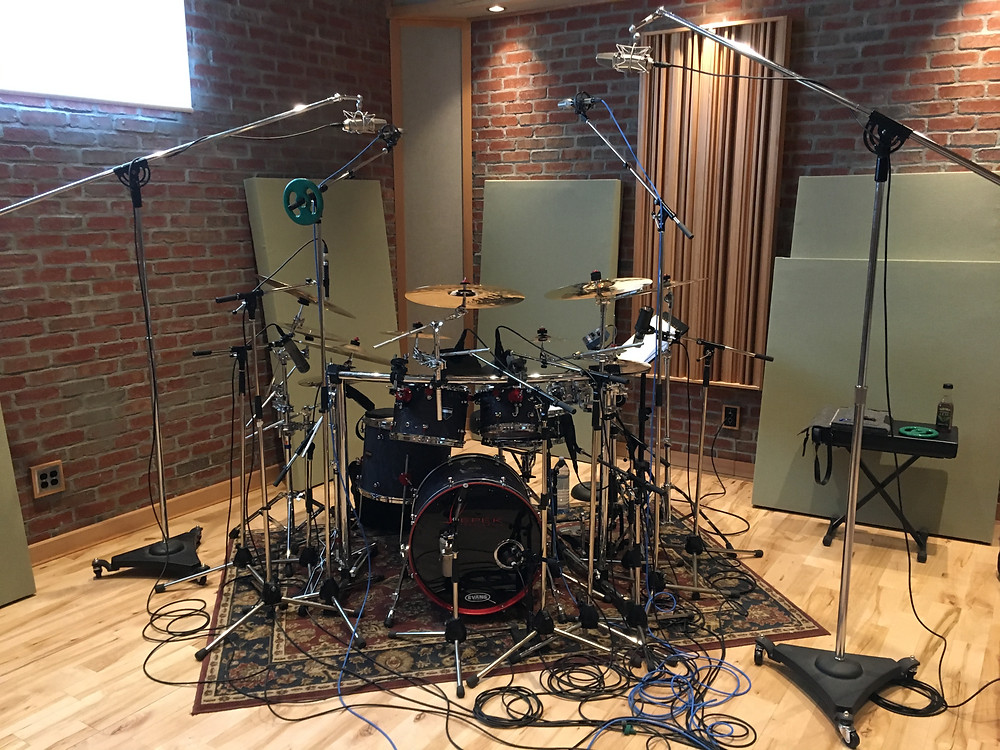 Chris's drum kit mic'd and ready to go