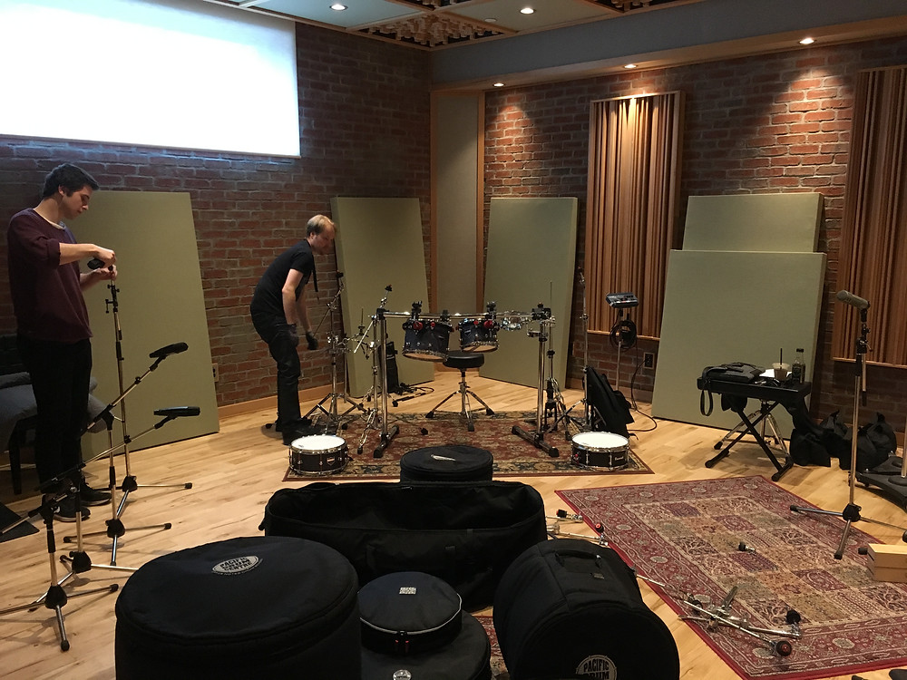 Chris setting up his drums on day one at Monarch