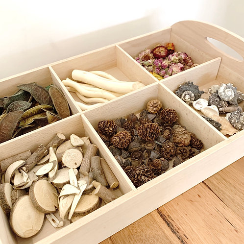Wooden Tray with Natural Elements