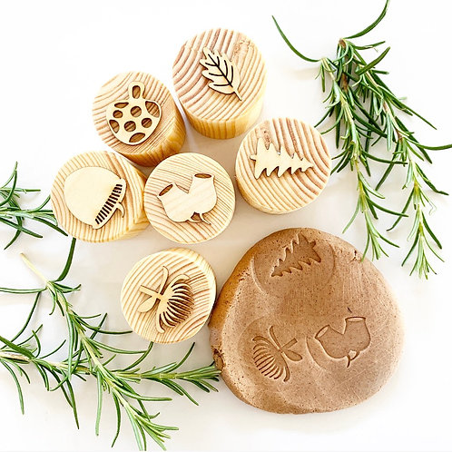 Wooden Nature Playdough Stamps