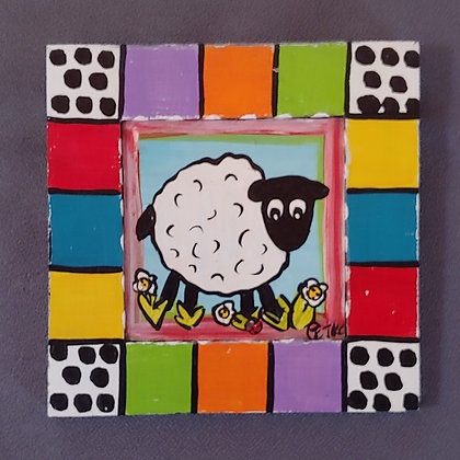 Those Kooky Chickens (Sheep) Mini Wood Panel Painting