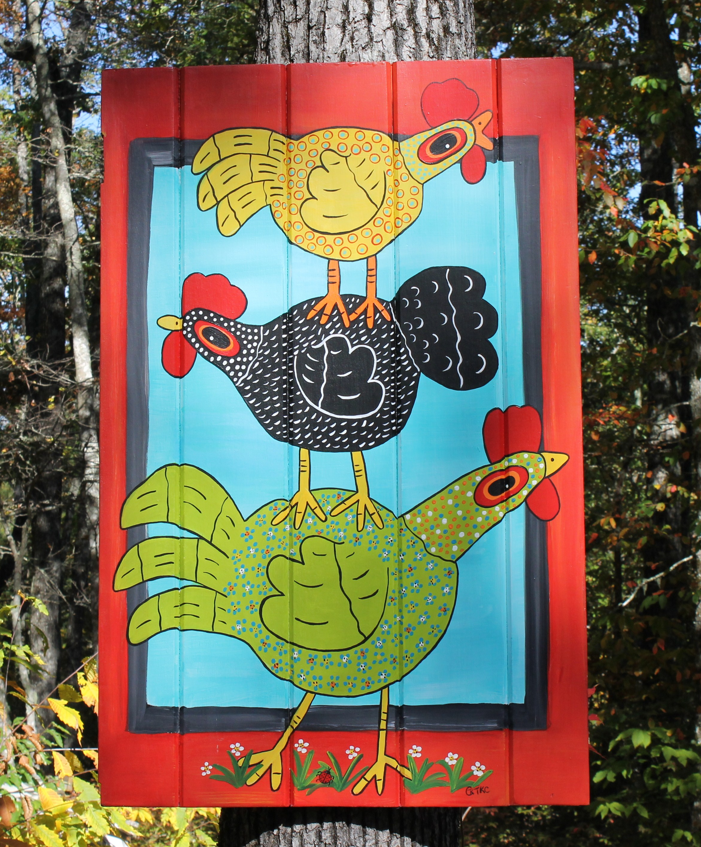 Chicken Stack on Recycled Door Panel