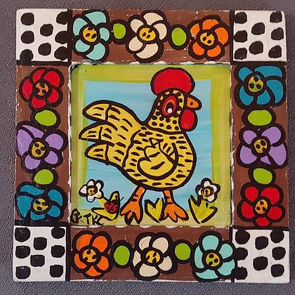 Those Kooky Chickens Mini Wood Panel Painting