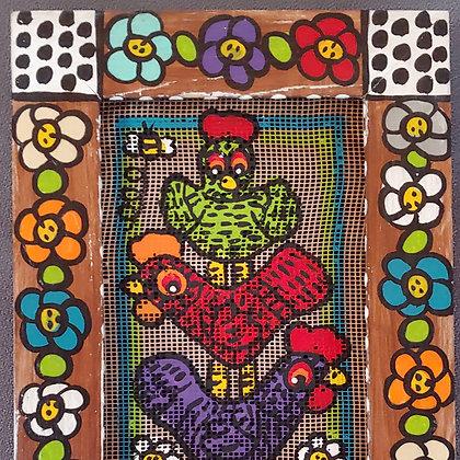 Those Kooky Chickens Mini Screen Painting