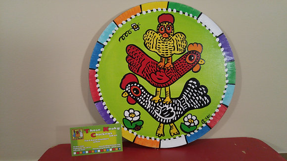 Recycled Wood Circle Kooky Chicken Painting
