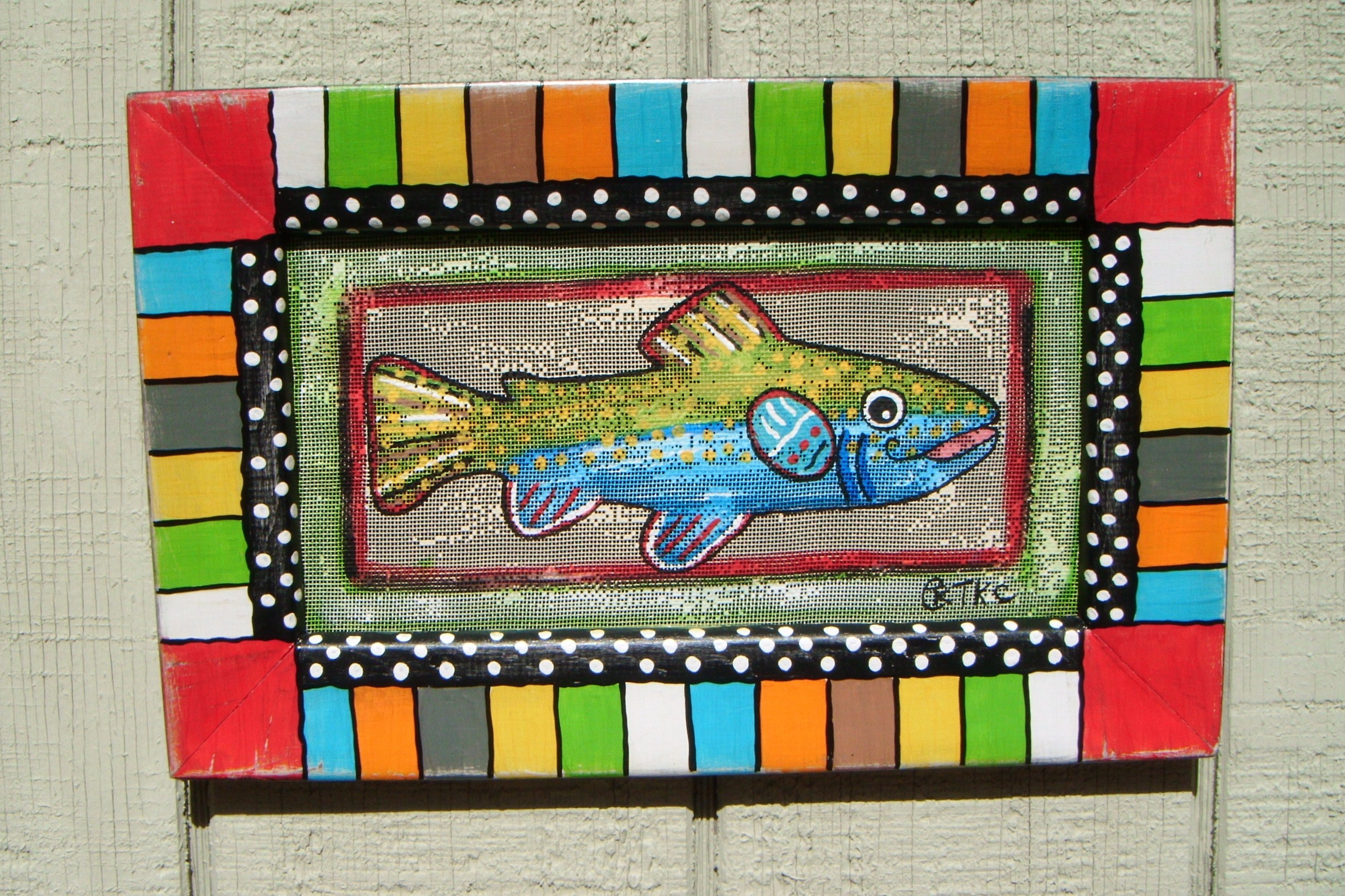 Fish Painting on Recycled Screen