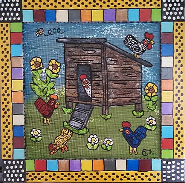 Kooky Chicken Coop Screen Painting