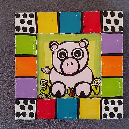 Those Kooky Chickens (Pig) Mini Wood Panel Painting