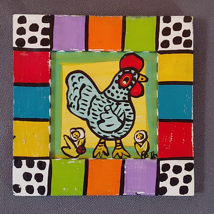 Those Kooky Chickens Mini Wood Panel Painting