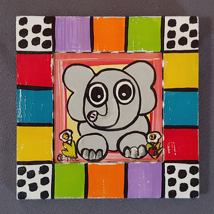 Those Kooky Chickens (Elephant) Mini Wood Panel Painting
