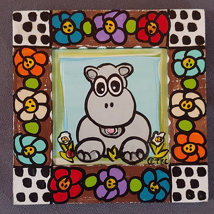 Those Kooky Chickens (Hippo) Mini Wood Panel Painting