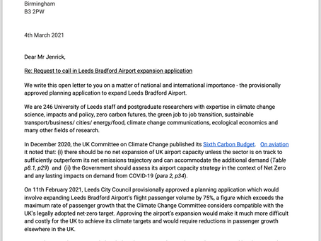 246 Staff From the University of Leeds Professors Sign Letter Asking to Call In LBA Decision