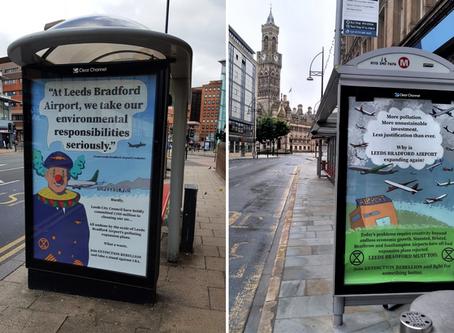 Extinction Rebellion Leeds Subvertising LBA Expansion