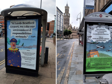 Extinction Rebellion Leeds Subvertising LBA Expansion