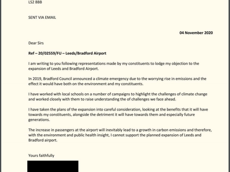 Press Release: Campaigners Against Airport Expansion Welcome Support from Bradford MP, Naz Shah