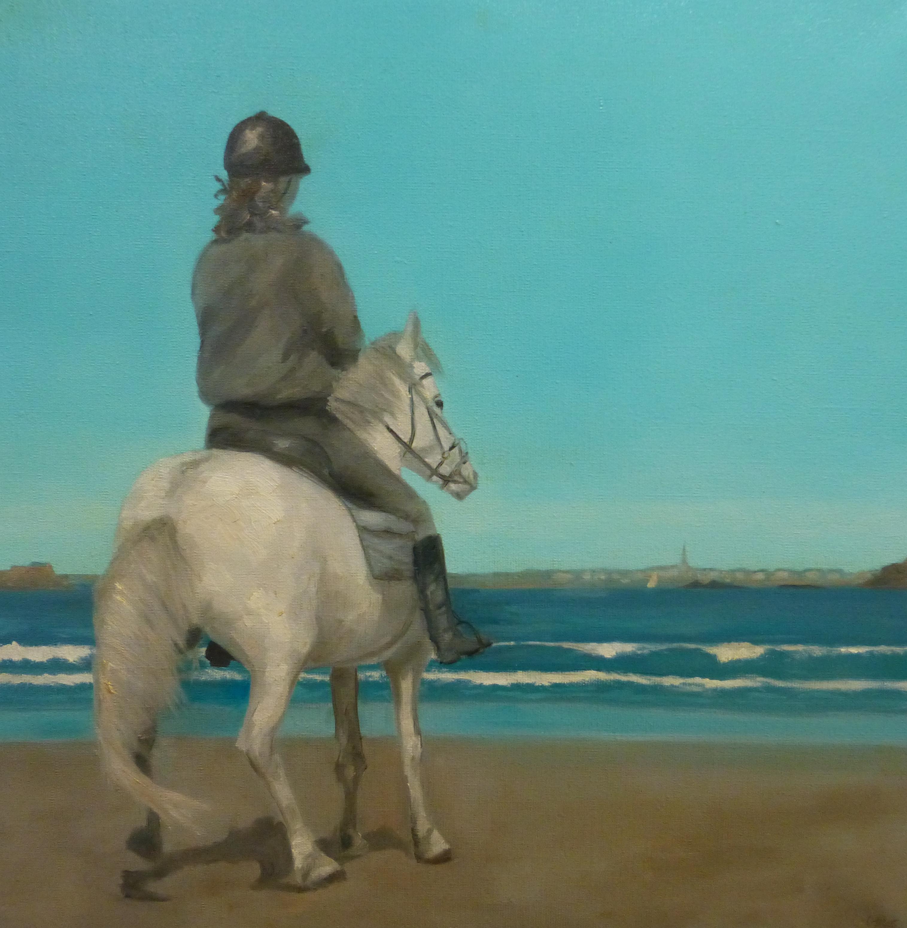 Cavalière sur la plage de St Lunaire