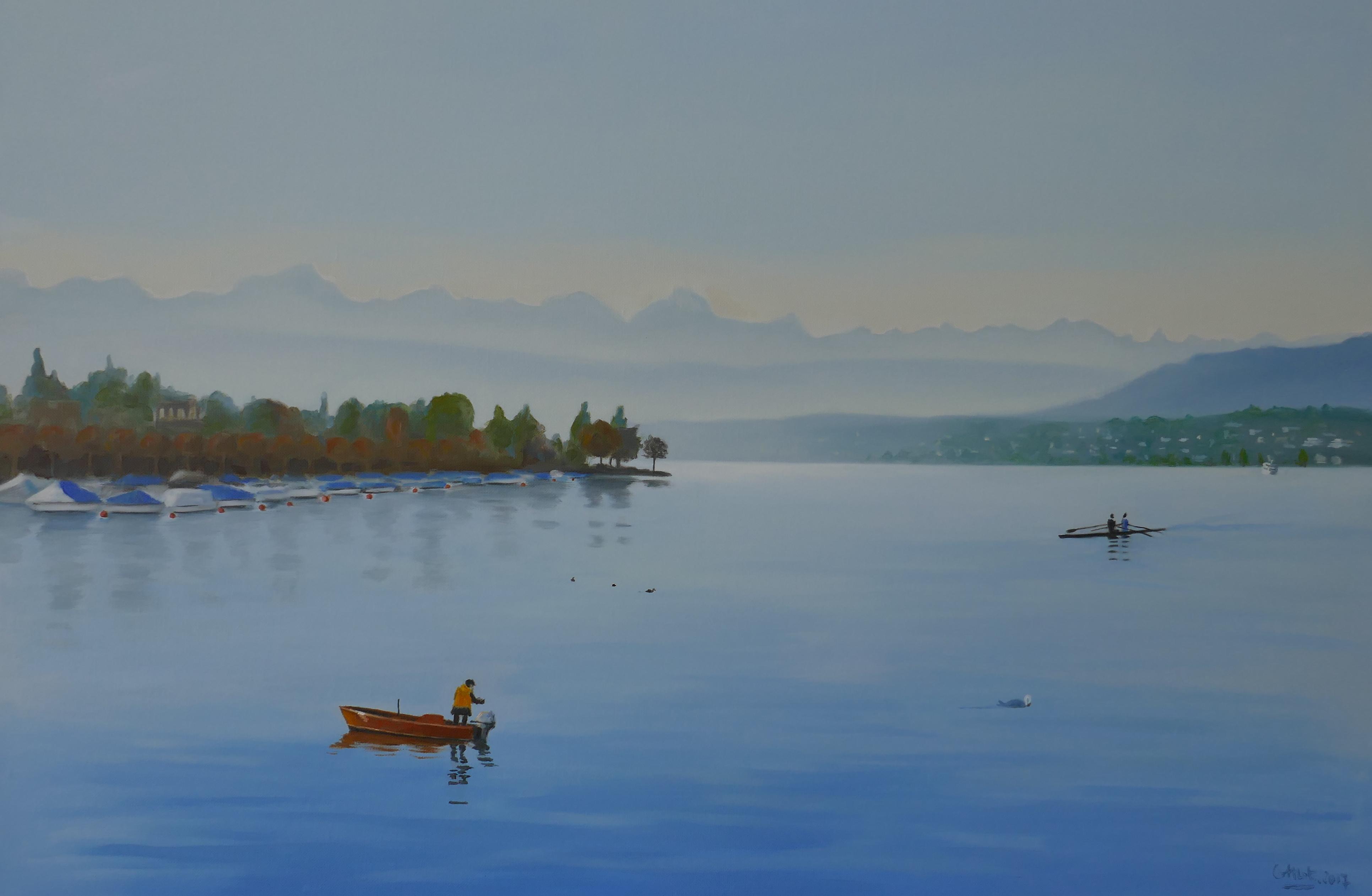 Pêcheur sur le lac de Zurich