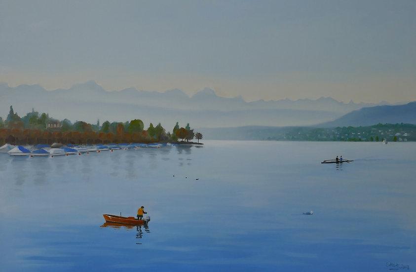 Pêcheur dans le petit matin sur le Zurichsee