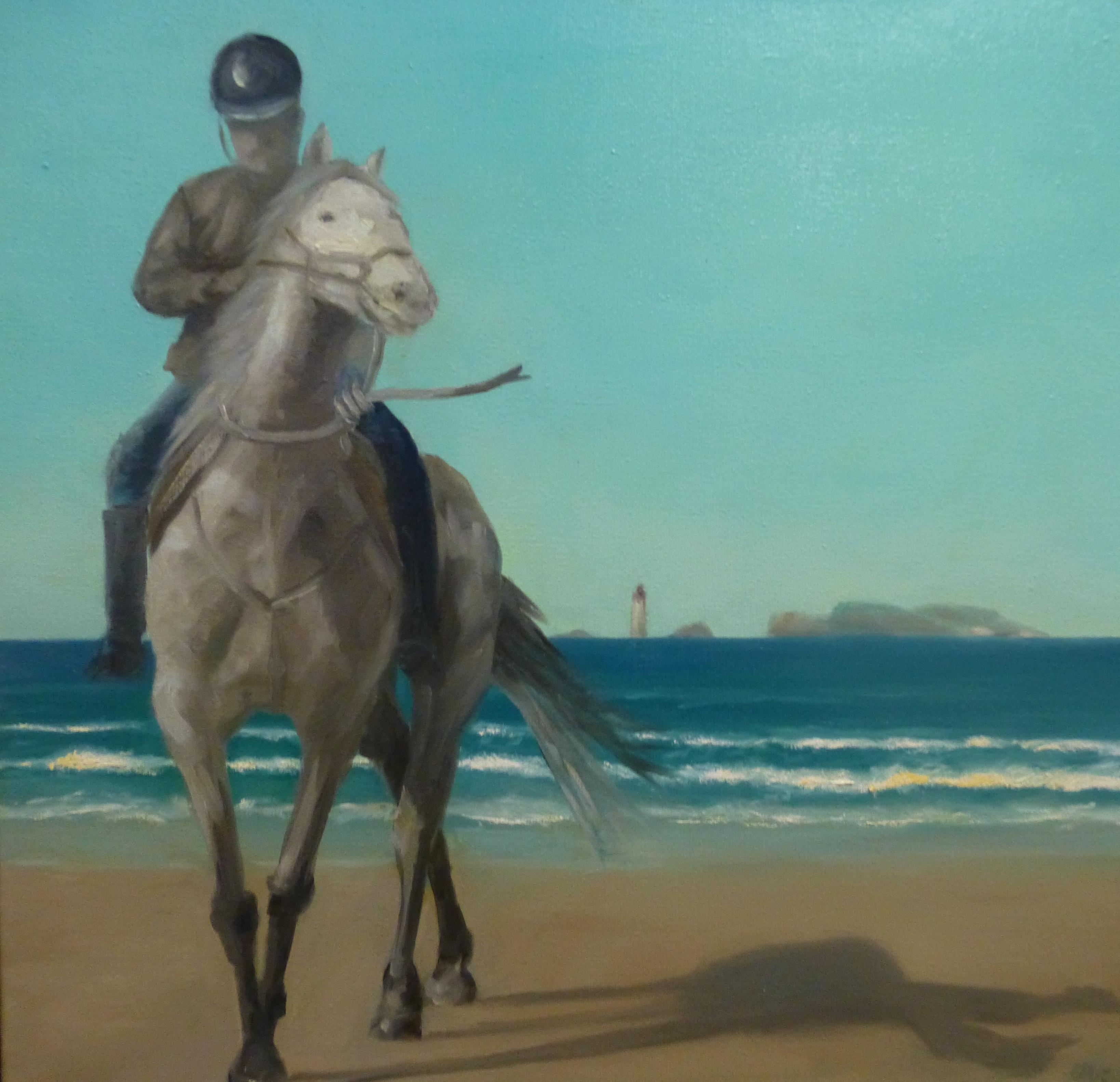 Cavalier sur la plage de St Lunaire
