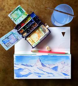 2021, Zermatt, Pause aquarelle