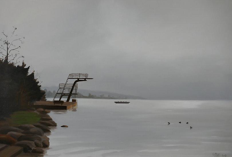 Plongeoir du Strandbad dans la brume