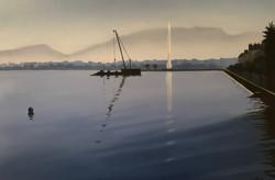 Jet d'eau devant le Salève