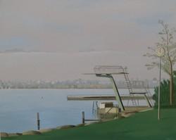 Strandbad diving deck in the mist