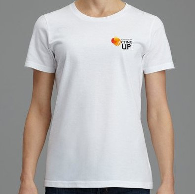 Acting Up! Youth Theatre Academy Cotton T's (Women's) Place size from chart