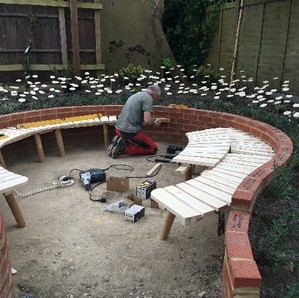 3 weeks later - fitting the circular bench