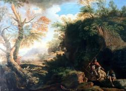Paesaggio con soldati