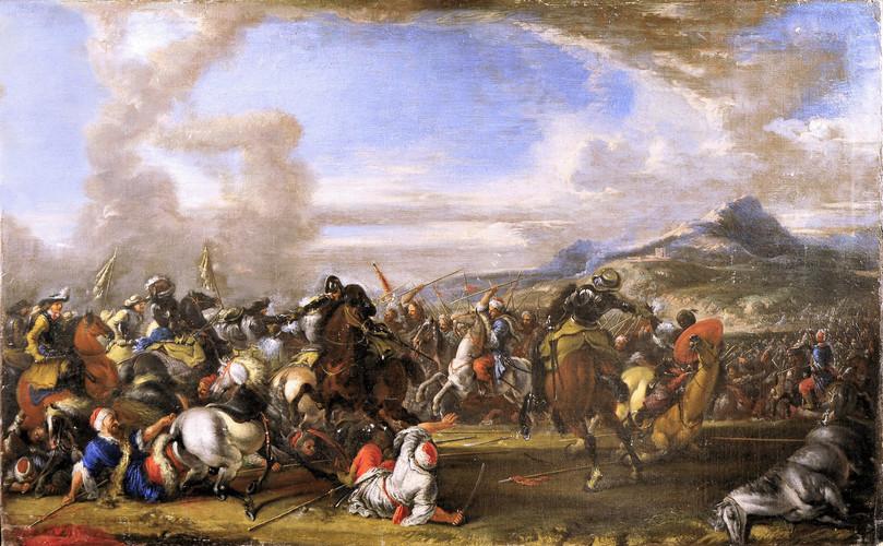 CALZA, Antonio - Battaglia tra cavalleria cristiana e turca