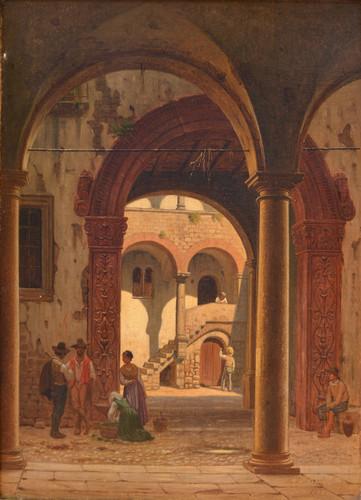KORNBECK, Peter - Figure sotto un portico