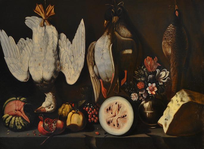 PETRAZZI, Astolfo - Natura morta con volatili, frutta e formaggio