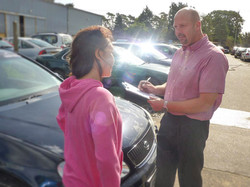 Completing a car rental agreement in Mildenhall